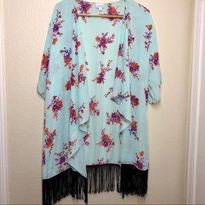 LuLaRoe Monroe Fringe Kimono or Coverup Size L